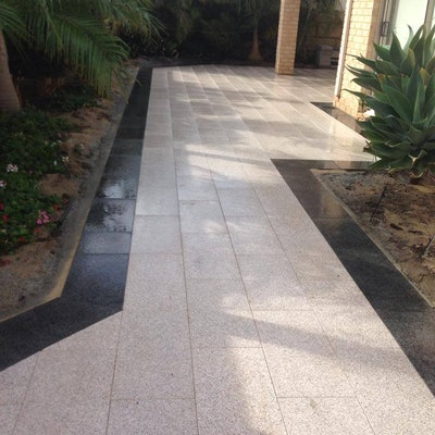 Bronze and Black Flamed Granite Pavers