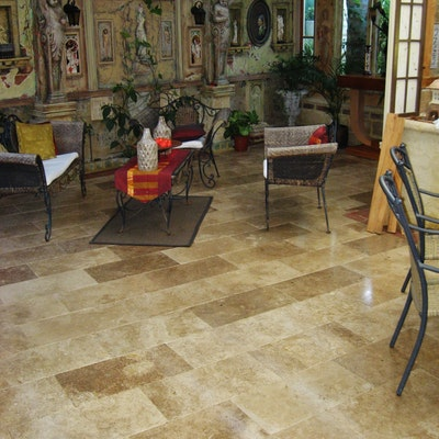Cappuccino Rectangular Travertine Pavers