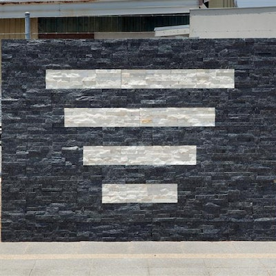 Black Quartz & White Quartz  Natural Stone Cladding