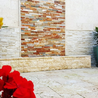 Desert, White Quartz and Random Rock Face Natural Stone Cladding