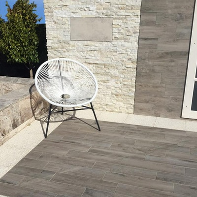 White Quartz and Grey Wood Stone feature wall Perth