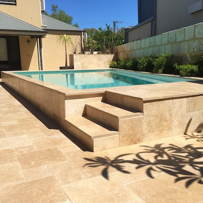 Cappuccino Travertine Pool Paving