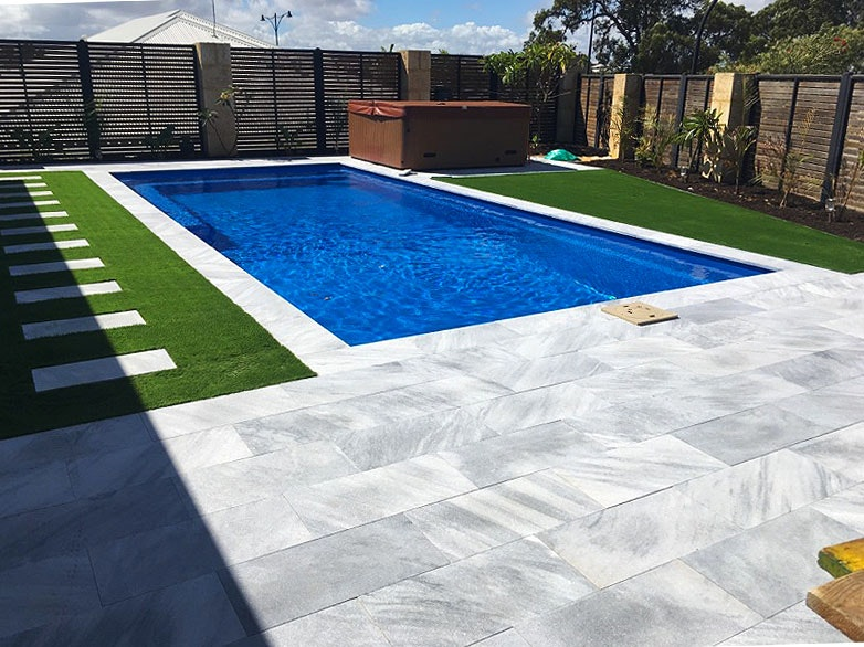 Stormstone rectangular pavers and pool Capping Perth