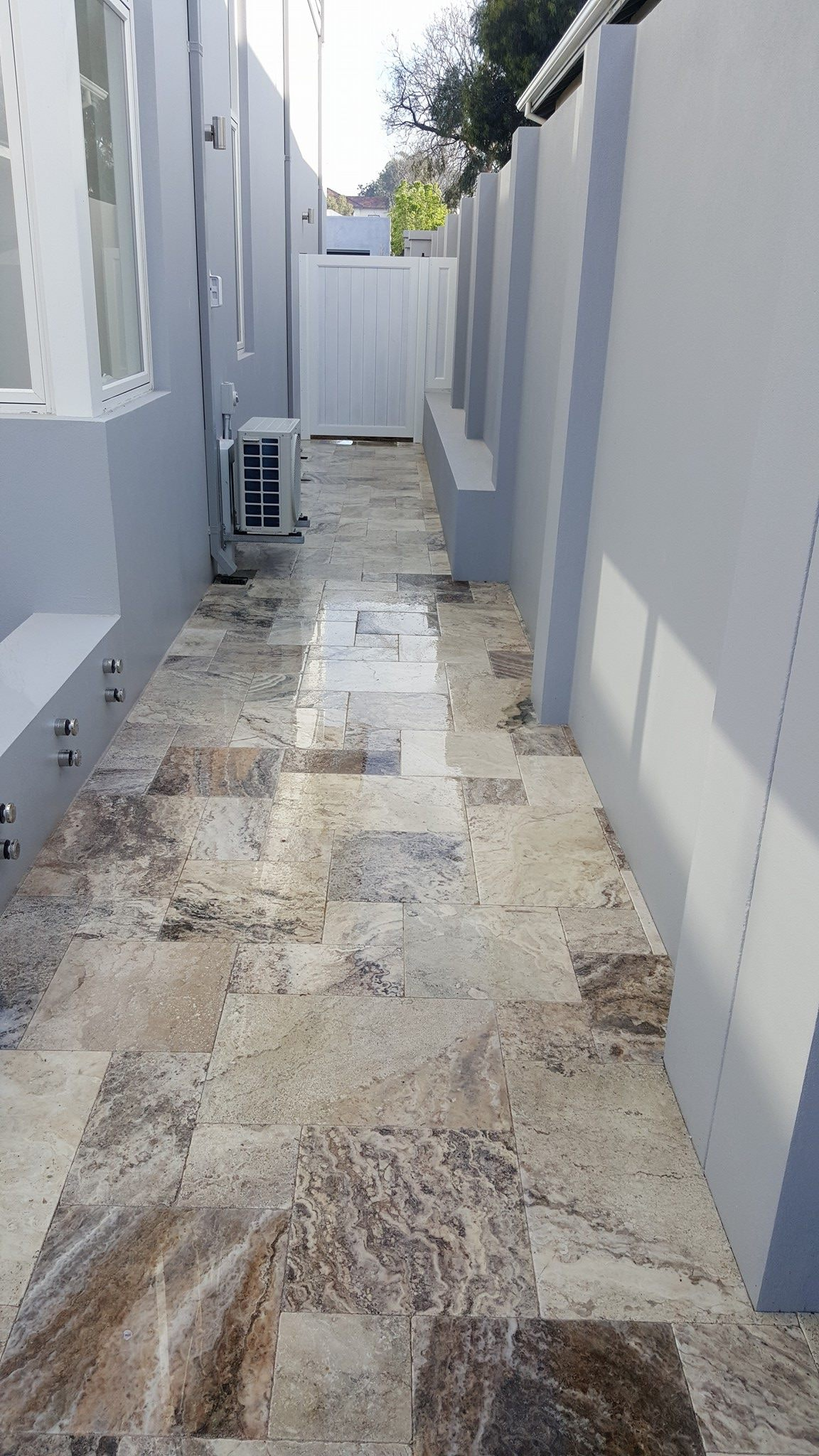 Ibiza Travertine French Pattern Paving Perth