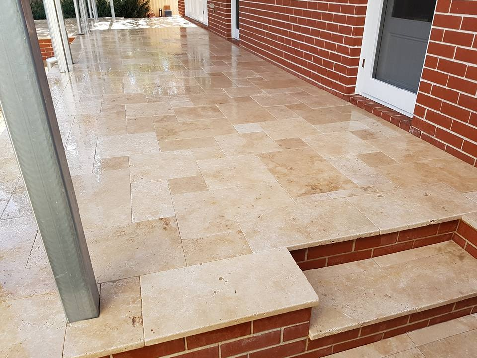 Roma Travertine - French pattern Paving Perth