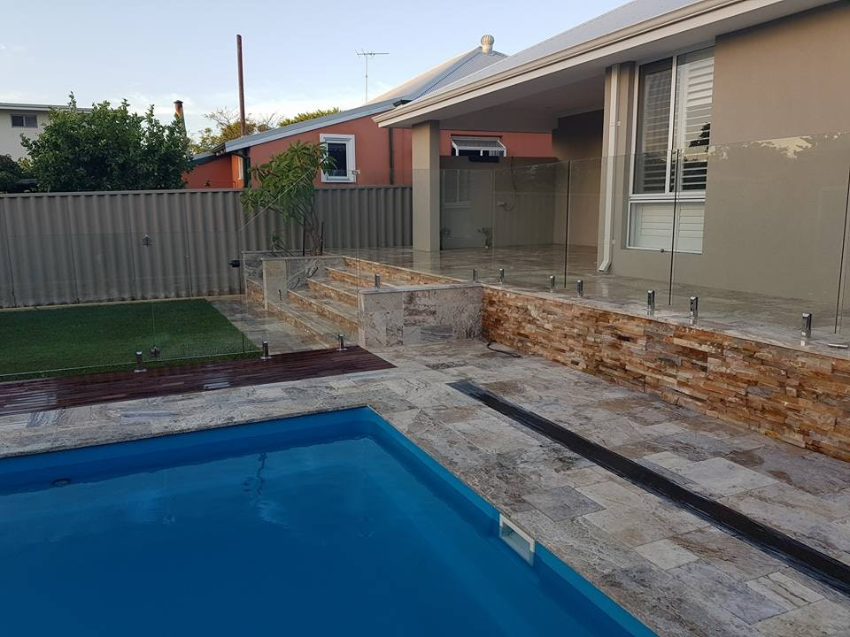 Ibiza Travertine French Pattern Pool Paving Perth