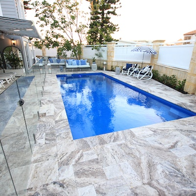 Ibiza Travertine French Pattern Pool Pavers