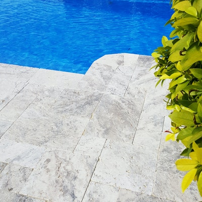 Ibiza Travertine French Pattern Paving and Capping