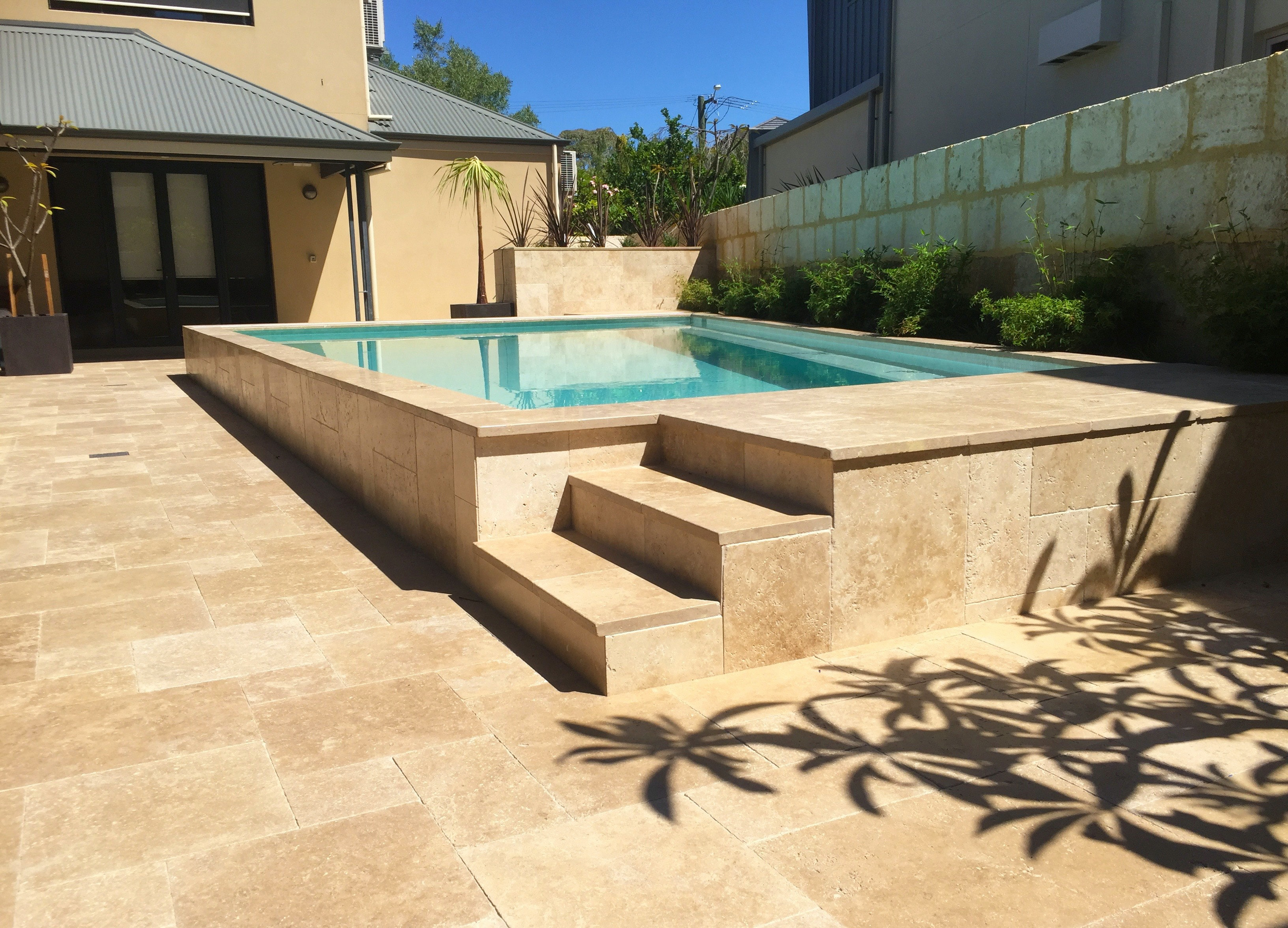 Cappuccino Travertine French Pattern Paving Perth