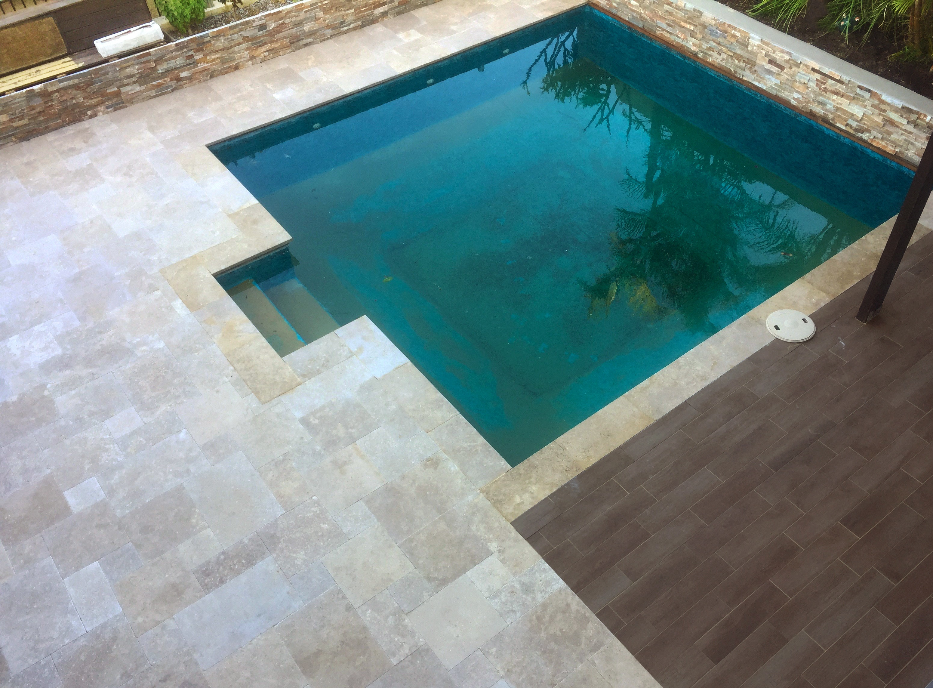 Cappuccino French Travertine and Jarrah Pool Paving