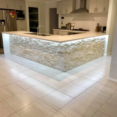 White Quartz Cladding - Kitchen Island Perth