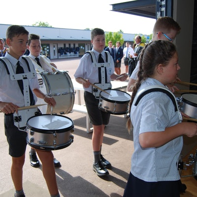 Drumming in of the staff and Year 12 students