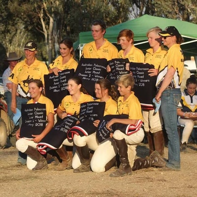 Pippa May & her winning team at the Australian Polocrosse Junior Classic