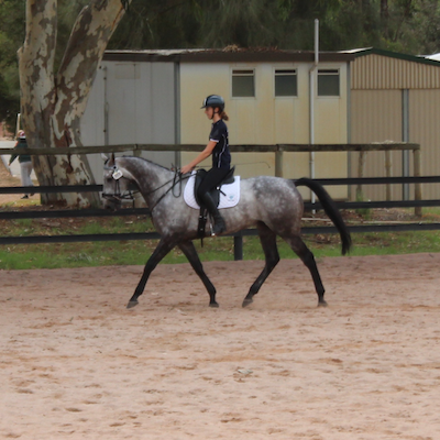 Jaime Baker warming up on her horse Imerandiel at the 2018 Interschool Championships