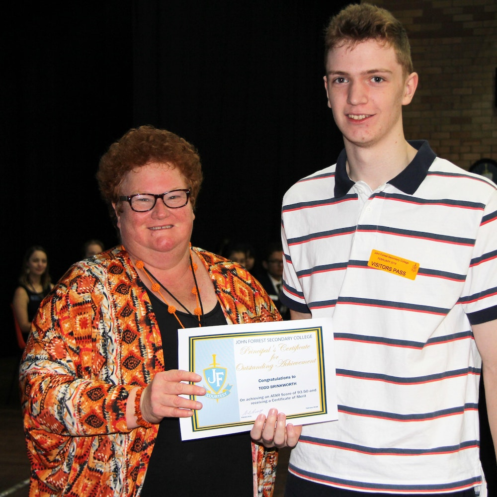 Todd Brinkworth - Certificate of Merit, ATAR of 93.50 and nominated for Curtin Scholarship