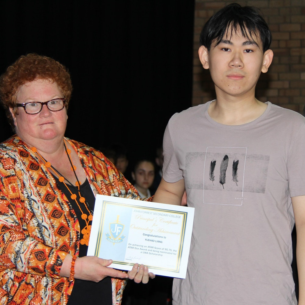Yuehao Liang - Certificate of Merit, ATAR Dux 2017, ATAR of 95.75 and nominated for UWA Scholarship