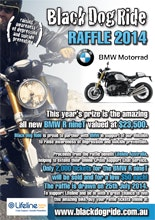 BMW Black Dog Ride Lifeline Raffle Poster
