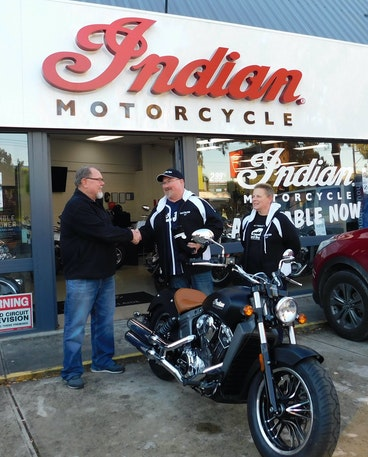 David Goddard picking up his new Indian Scout