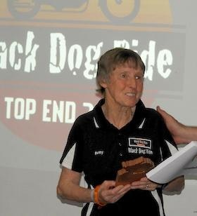 Black Dog Ride's Betty Parssey being Presented with a Plaque of Thanks in Darwin 2018