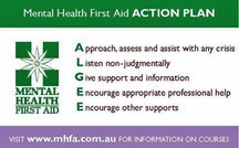 Black Dog Ride Mental Health First Aid Training (MHFA) July 2015 ALGEE Action Plan