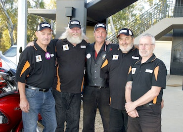 Black Dog Riders Archie Howden, Ric Raftis, Ash Lau, Alan Zimmer and Ross Tinkler in Numurkah