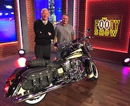 Indian Chief Vintage Auction Winner Tracey Fellows with Channel 9's Simon Bouda on The NRL Footy Show