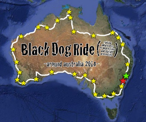 Black Dog Ride Around Australia Map