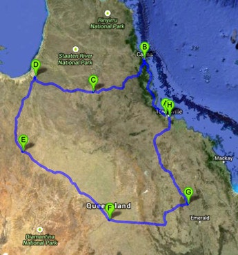 Black Dog Ride - QLD State Ride (North) Route Map