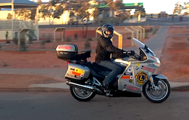 Steve Andrews leads Black Dog Riders out of Coober Pedy