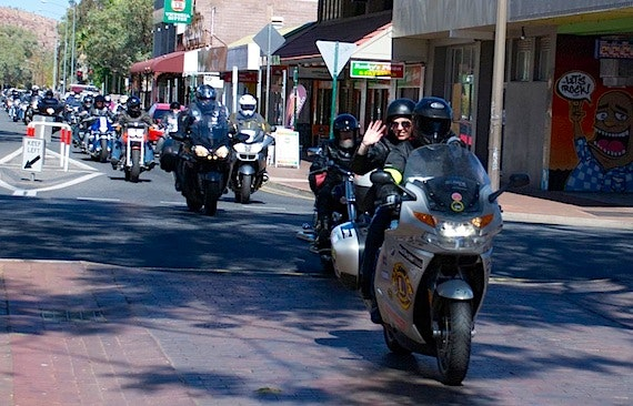 Black Dog Riders ride through the Todd Mall in Alice Springs - Ride to the Red Centre 2013 Image by Ric's Uncle Bob