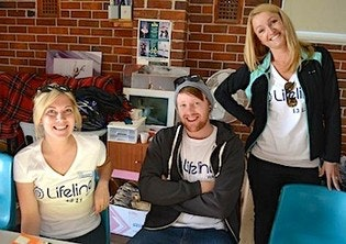 Lifeline Volunteers at a Black Dog Ride. Fundraising Coordinator at Lifeline WA, Natalie Bird, on the right.