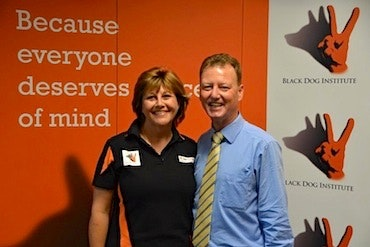 Will Bonney, General Manager of Black Dog Institute, and Kim Hansen, Black Dog Rider, at the BDR Cheque Presentation 2012. Photo by Noel Taylor