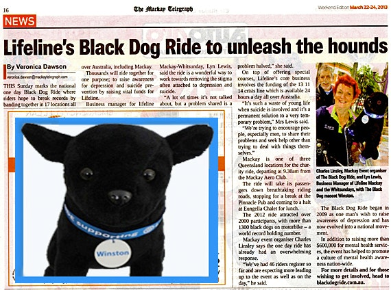 Mackay Telegraph - Lifeline's Black Dog Ride to Unleash The Hounds