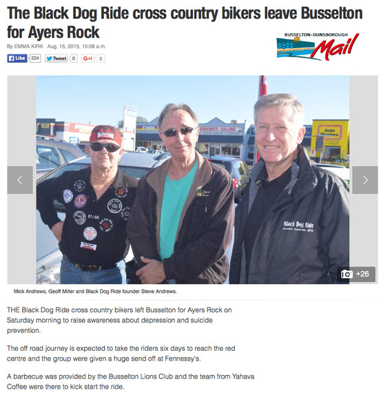 Black Dog Ride Red Centre 2015 Media - Busselton Launch of the Black Dog Ride to the Red Centre