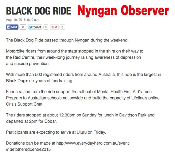 Black Dog Ride Red Centre 2015 Media - Nyngan Observer