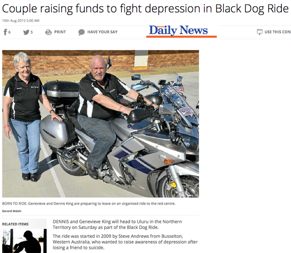 Black Dog Ride Red Centre 2015 Media - Warwick Couple Riding to Raise Awareness of Suicide