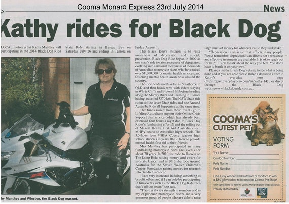 Black Dog Ride Around Australia Media - Kathy Manthey Rides to Kick the Black Dog