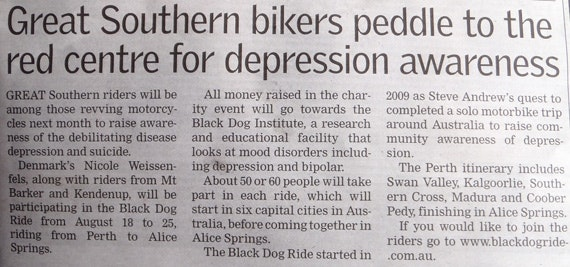 Great Southern Bikers Peddle for Depression Awareness