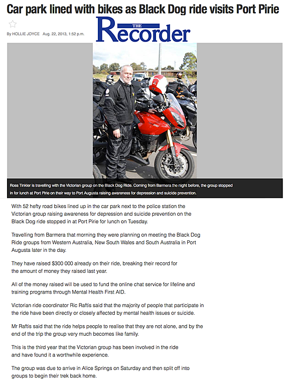 Car Park Lined With Bikes As Black Dog Ride Visits Port Pirie