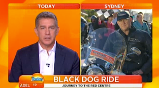Channel 9's Simon Bouda, a Black Dog Rider, chats to the Today Show at the Sydney launch of the 2013 Ride to the Red Centre