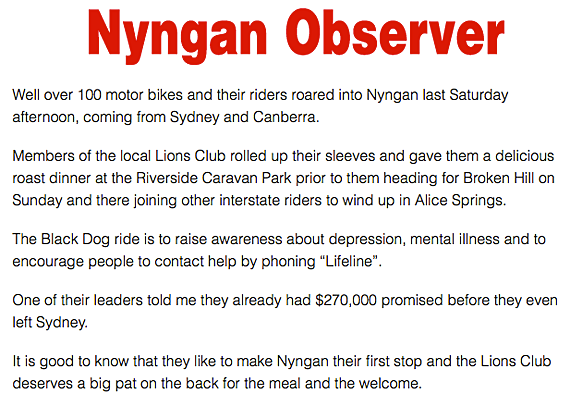 Bikes Roar into Nyngan for Depression Awareness