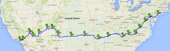 Black Dog Ride across America Route