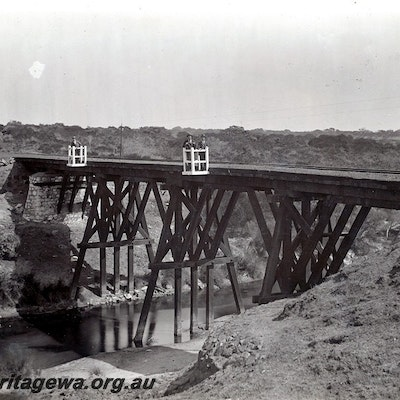 First timber trestle bridge over Chapman River