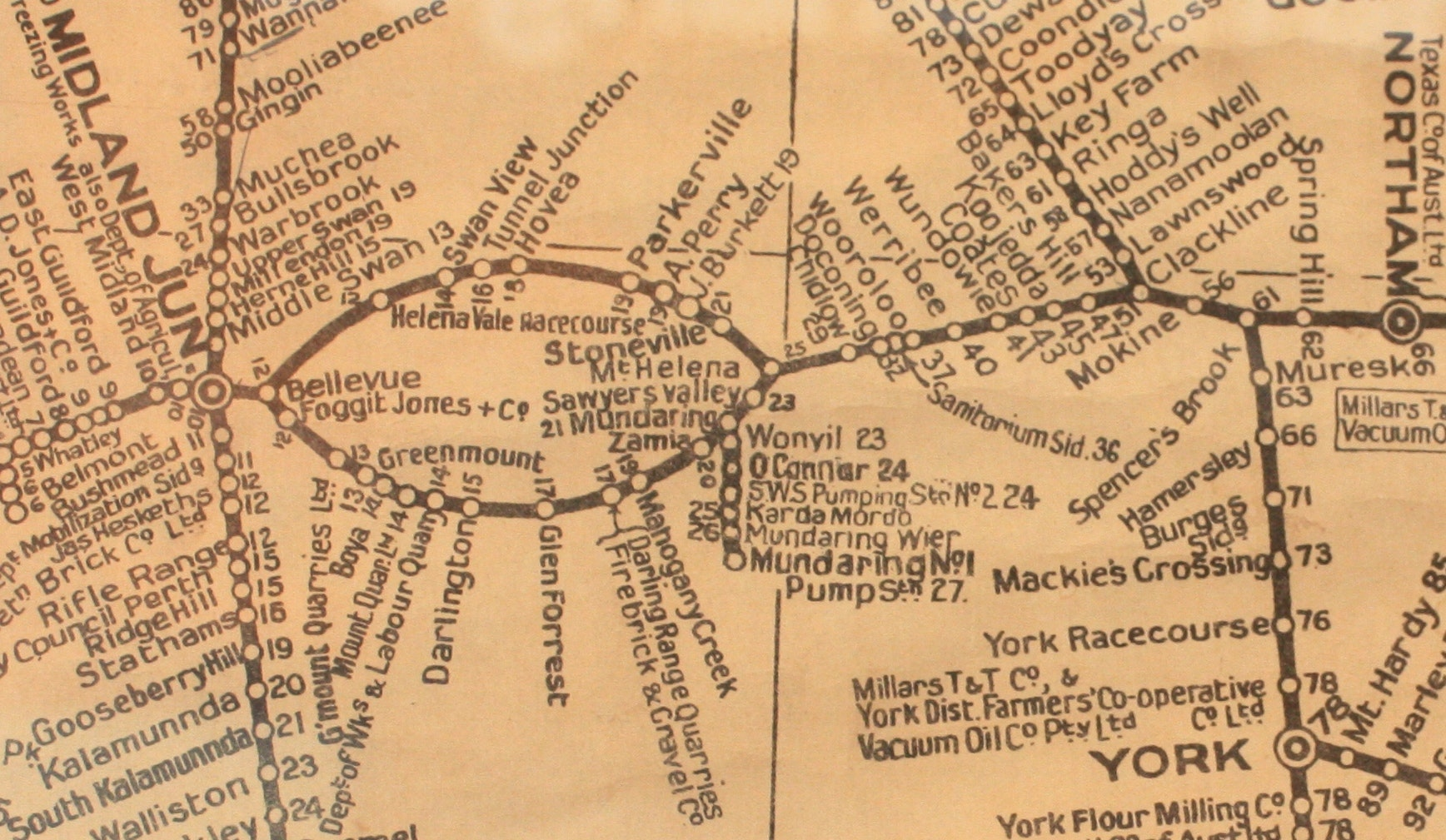 Old Train map at Old Northam Railway station - cropped