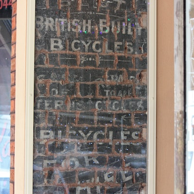 Old bike shop facade, Boulder