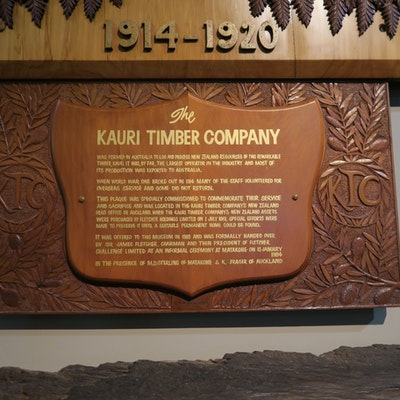 Plaque at the Kauri Museum, Matakohe, NZ