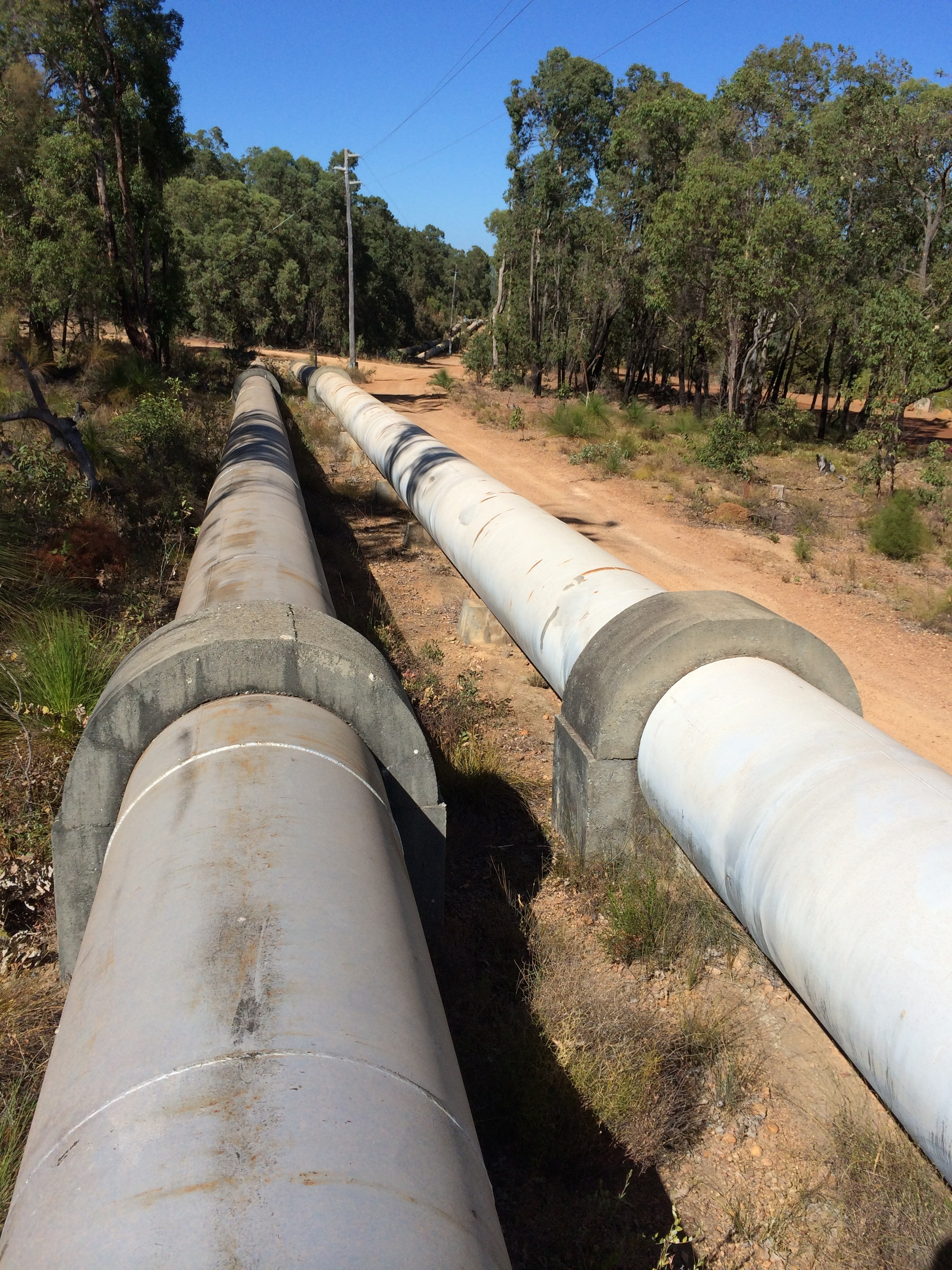 Goldfields Water Pipeline next to trail