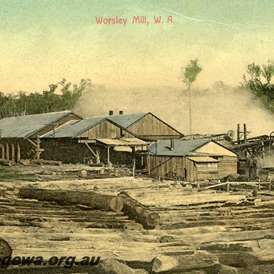 Timber mill. Worsley, general view, coloured postcard
