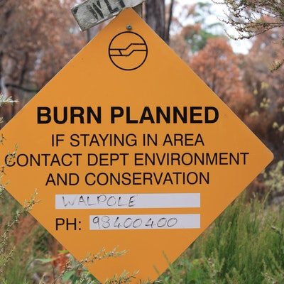 Warning sign for planned burn, Map 8