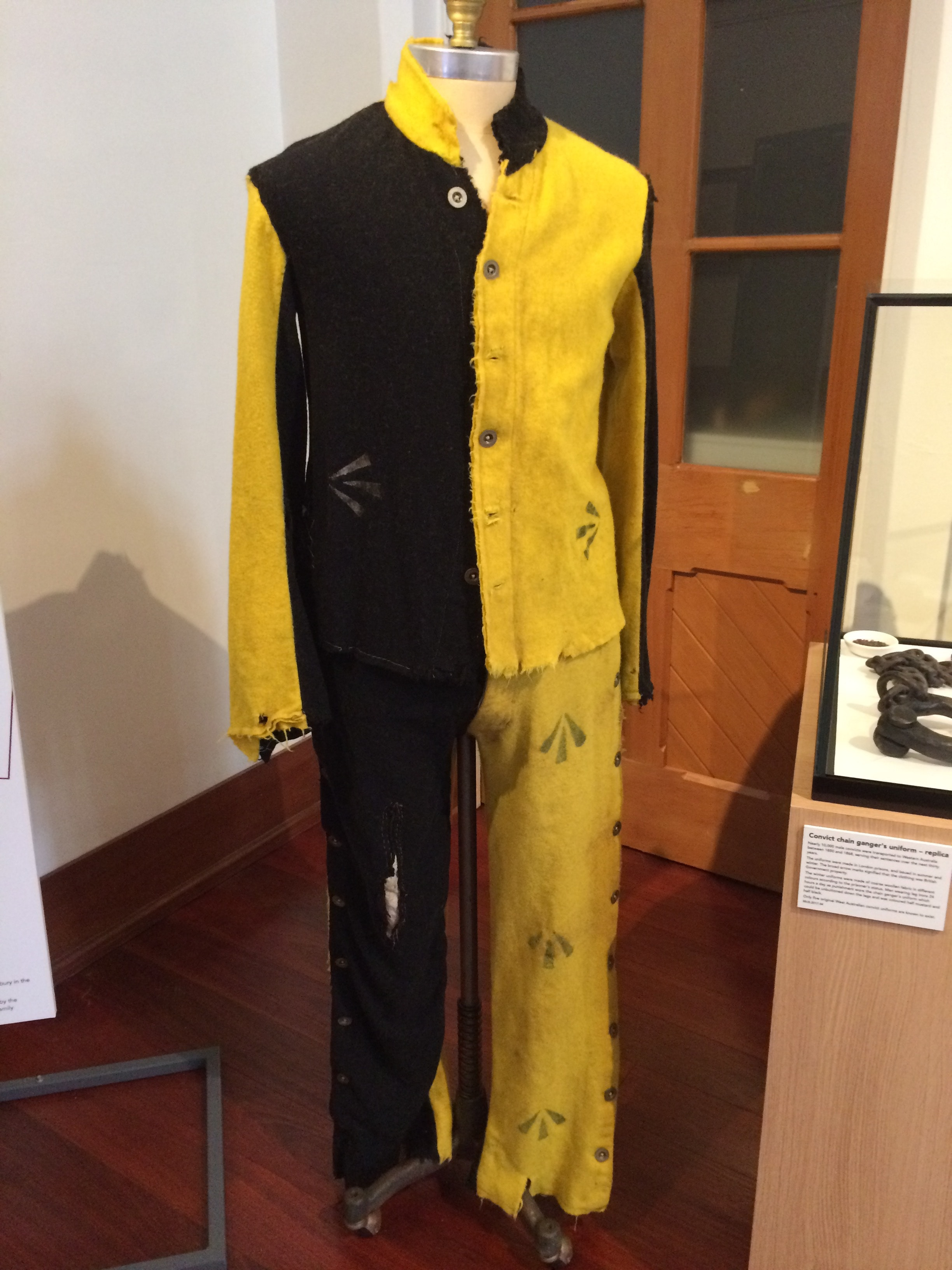 Replica convict uniform, Bunbury Museum